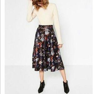 ZARA Faux Leather Floral Midi Skirt w/ Pockets